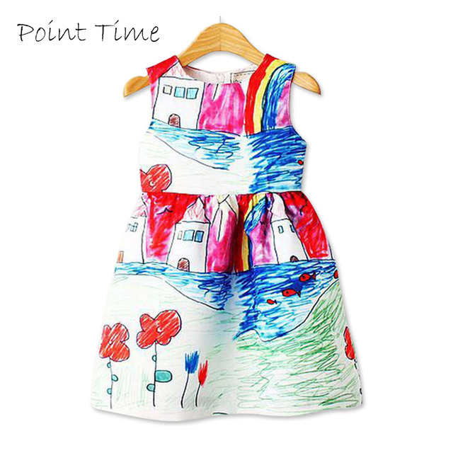 Colorful Girl Dress 2018 Summer Princess Dress Girl Designer Character  Painting Kids Dresses for Girls Clothes Vetement Fille 5f5ffe7f0