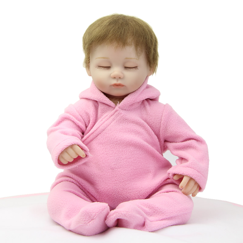 18 Inches Sleeping Silicone Vinyl Girl Reborn Baby Doll Lifelike Newborn Babies Dolls Wearing Pink Clothes Kids Birthday Gift lifelike american 18 inches girl doll prices toy for children vinyl princess doll toys girl newest design