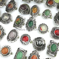 New 20pcs Wholesale Jewelry Lots Mix Natural Stones Antique Silver Plated Women Mens Adjustable Vintage Rings A-152