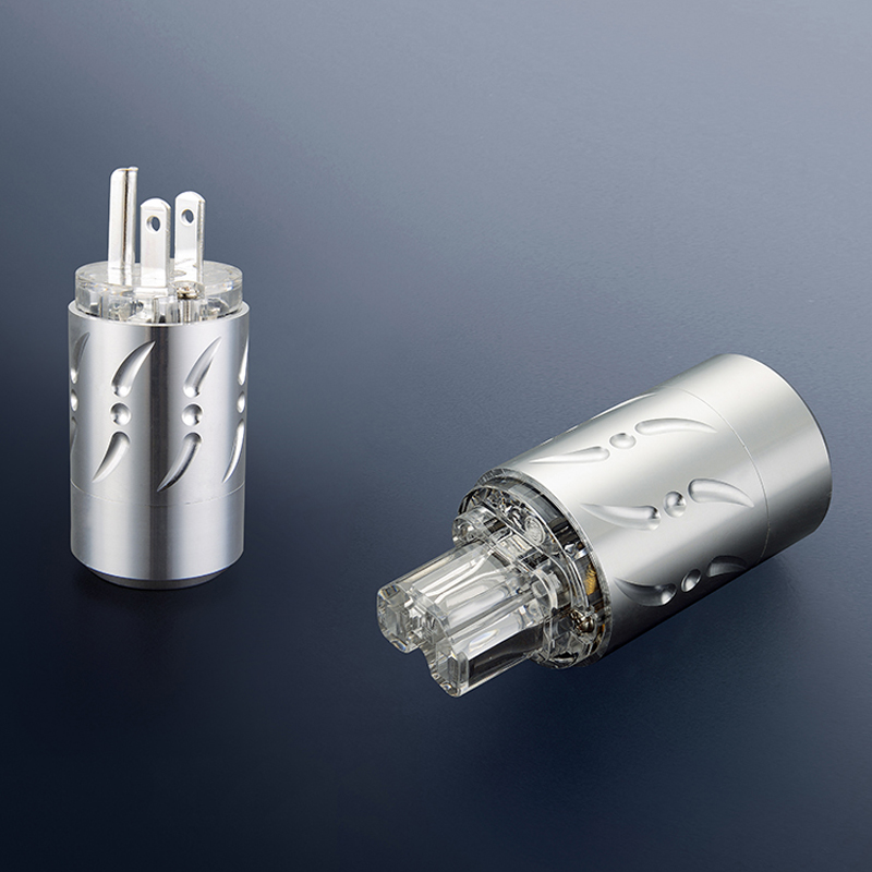 Free shipping One pair Viborg VM512S&VF512S Pure Copper Silver Plated HIFI US Power Plug+IEC Female Connector free shipping one pair viborg ase t asf t silver plated schuko power connector iec female plug with diy audio power cable