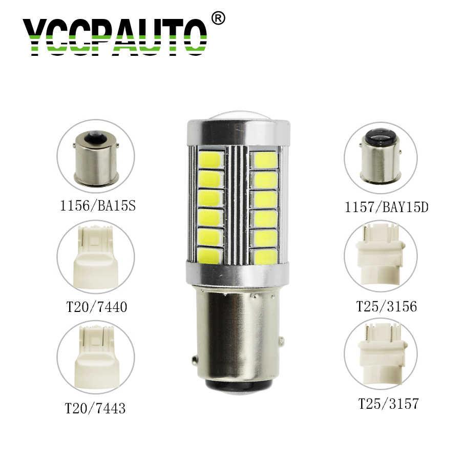 YCCPAUTO P21w LED arka lambası BA15S 1157 BAY15D T20 7440 T25 33 SMD 5630 LED araba geri vites lambası dönüş sinyali fren lambaları ampul drl
