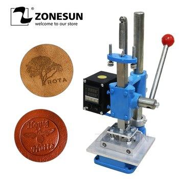 ZONESUN 5x7 Cm 8x10cm10x13cm Imprimante à Estampage Manuel Pour Sac à Main En Cuir Et Ceinture Feuille Chaude 8x10 Cm Gaufrage Machine électrique