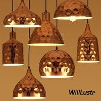 Willlustr copper color plated metal pendant lamp Polka Dots wave point suspension lighting dinning hall hotel restaurant light