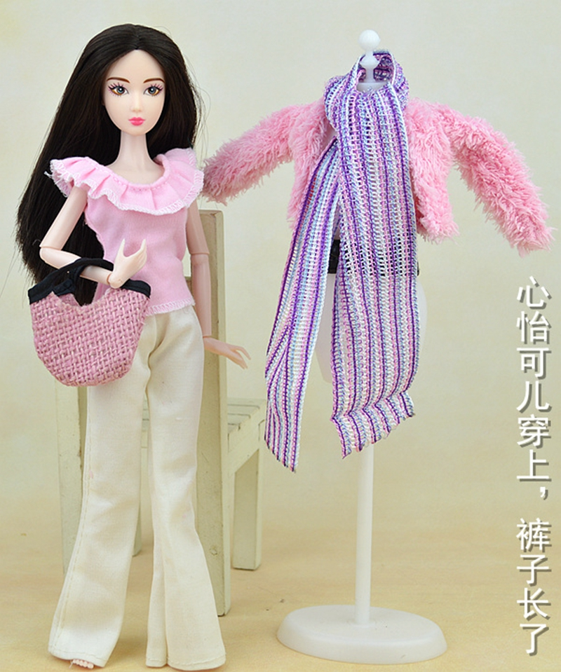 Doll Equipment Doll Garments Set Winter Put on Coat Style Garments For Barbie Doll Home Pants Scarf Sneakers Baggage For BJD Doll