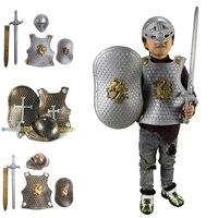 H&ZY Children Kids Knight Gladiator Dress up Costume Armor+Shield+Sword+Helmet Warrior Performance Props Halloween Accessories