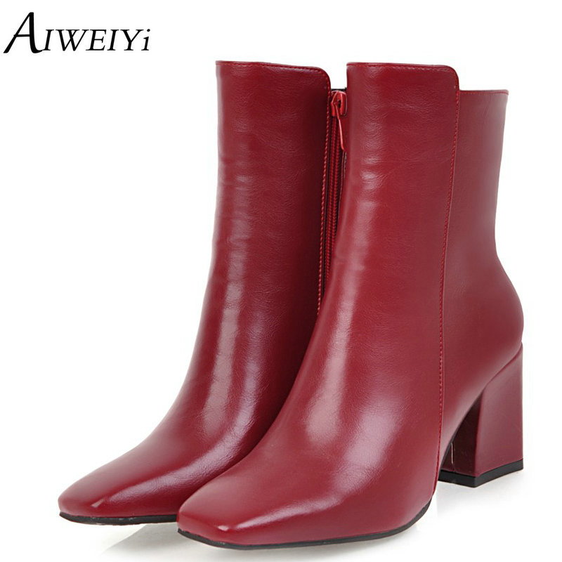 AIWEIYi Autumn Winter Women Boots High Quality Square Toe European Ladies Shoes PU Leather Fashion Boots Fur Warm Botas Footwear women boots high quality fashion women s boots autumn and winter 2016 women s zipper warm boots high boots