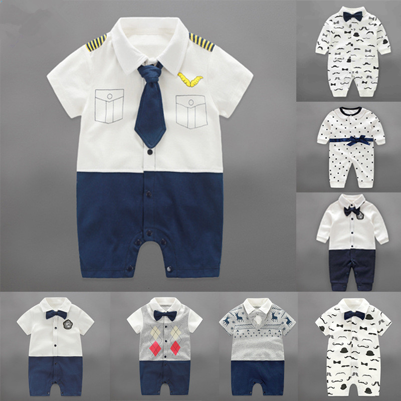 2017 Baby Boys Toddler Jumpsuit Kids Clothing Winter Newborn gentleman Baby Body Suit Long Sleeve Clothes Infant Product