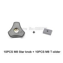 Woodworking Jig Accessory 10PCS M8 Star knob + T-slider fot Standard T-slot JF1160