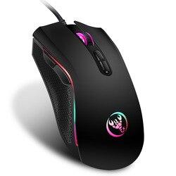 Hongsund Brand High-End Optik Profesional Gaming Mouse dengan 7 Warna Cerah LED Backlit dan Desain Ergonomi untuk LOL CS