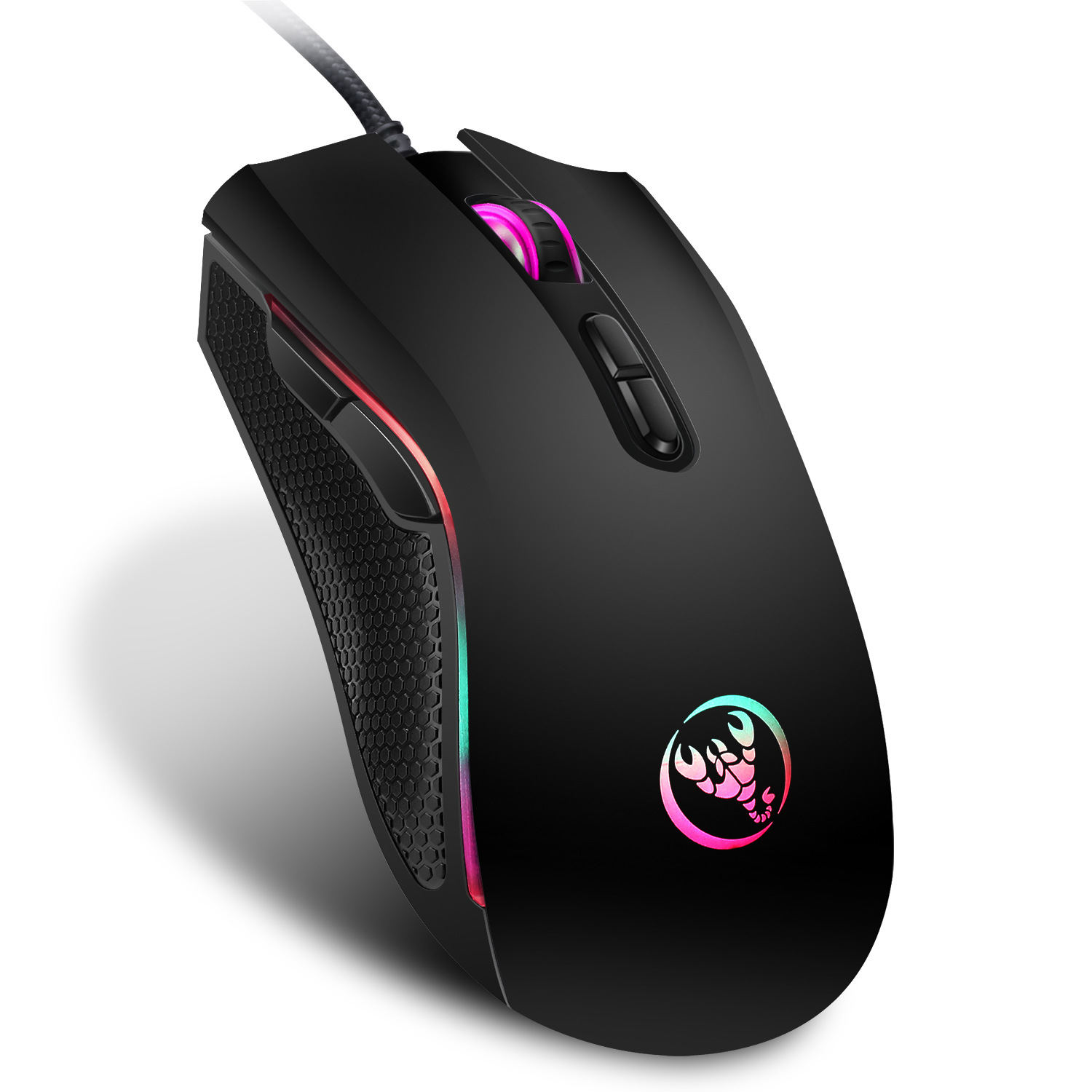 Hongsund marca high-end óptico profissional gaming mouse com 7 cores brilhantes led retroiluminado e ergonomia design para lol cs