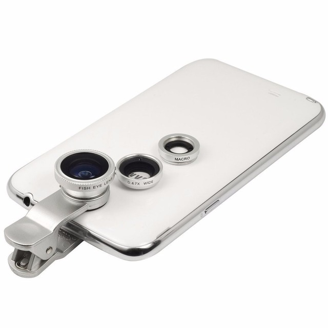 Pack de trois objectifs pour smartphone avec clip universel 2