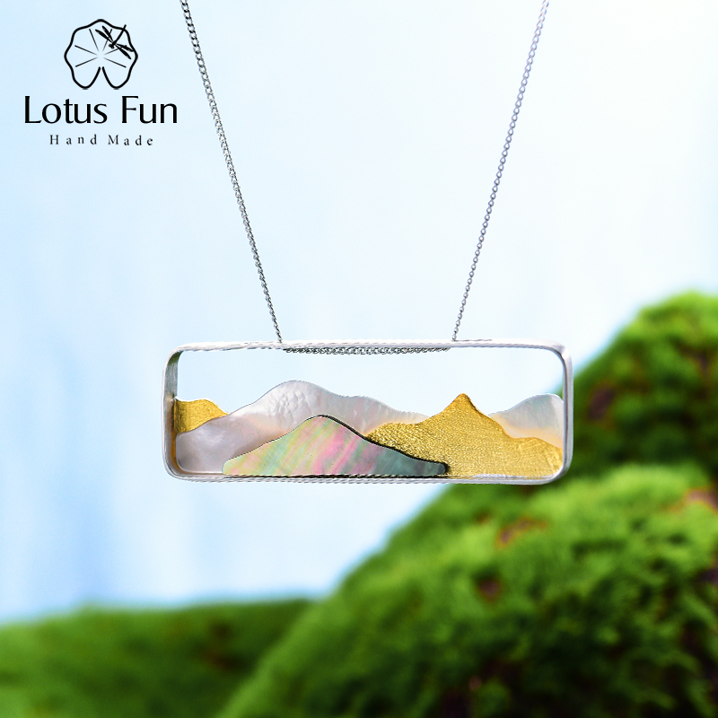 Lotus Fun Real 925 Sterling Silver Natural Sea Shell Handmade Fine Jewelry Multipeaked Mountain Design Pendant
