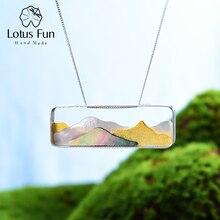 Lotus eğlenceli gerçek 925 ayar gümüş doğal deniz kabuğu el yapımı güzel takı Multipeaked dağ tasarım kolye kolye olmadan