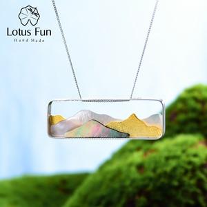 Image 1 - Lotus eğlenceli gerçek 925 ayar gümüş doğal deniz kabuğu el yapımı güzel takı Multipeaked dağ tasarım kolye kolye olmadan