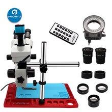 3.5X 90X Simul odak yakınlaştırma trinoküler Stereo mikroskop VGA HDMI dijital kamera Video mikroskop telefonu PCB çip lehimleme