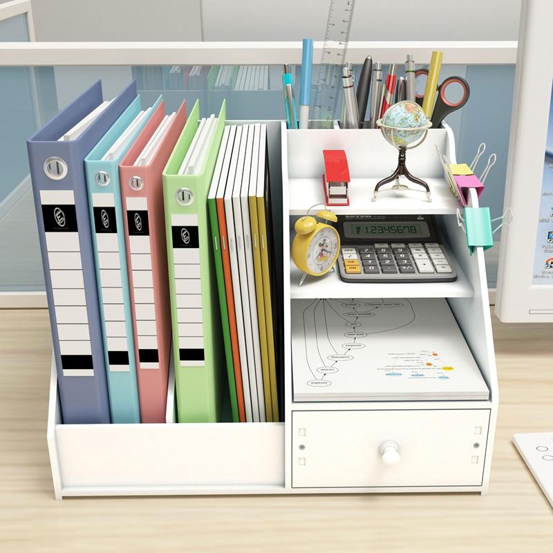 Купить с кэшбэком DIY Magazine Organizers Desk Organizer Book Holder Desk Stationery Plastic Storage Organizer Holder Stand Shelf Rack