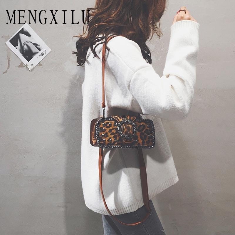 Fashion Women Leopard Print Handbag Brand New Messenger Bags Casual Round Shoulder Bags Autumn Winter Designer Crossbody Bag Sac