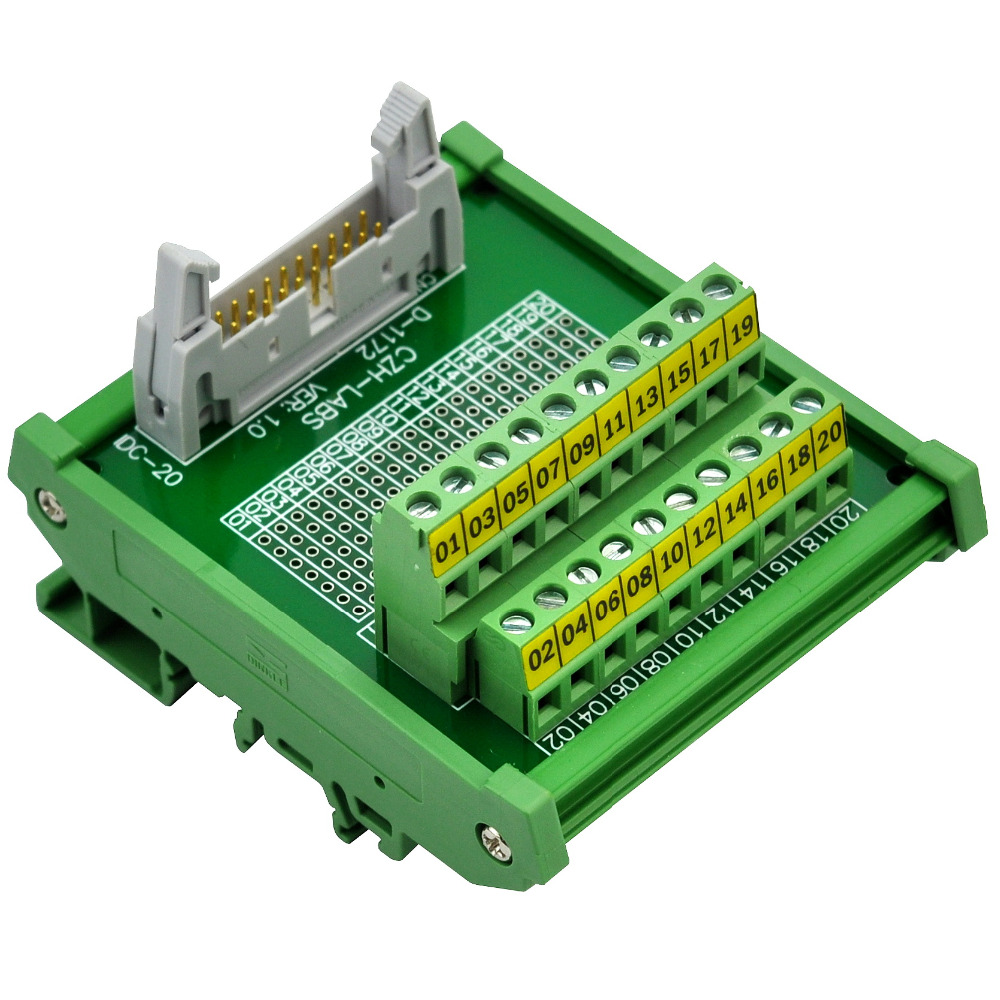 CZH-LABS DIN Rail Mount IDC-20 Male Header Connector Breakout Board Interface Module, IDC Pitch 0.1, Terminal Block Pitch 0.2 din rail mount d sub db78hd female interface module breakout board dsub db78