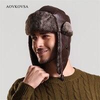 AOVKOVSA 2017 Russian Fur Faux Leather Adult Warm Winter Hats for Men Ushanka Bomber Hat