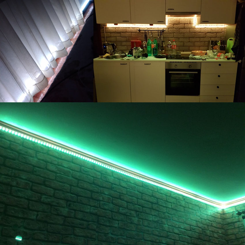 IKVVT DC12V LED Strip Light 5050 2835 rgb led Ribbon Emitting Diode Tape Lamp with 24k Remote WIFI Wireless Control Power supply in LED Strips from Lights Lighting