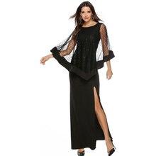 Mesh Patchwork Side Split Cloak Dress See Through Women Sexy Dresses Spring Summer Club Female Vestidos