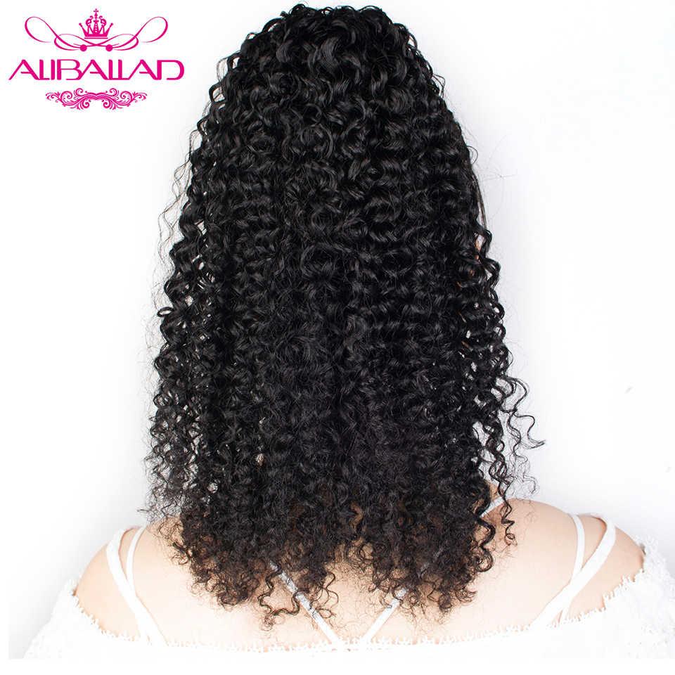 Aliballad غريب مجعد الرباط ذيل حصان شعر الإنسان البرازيلي الأفرو وصلات شعر بمشابك للنساء السود غير ريمي 2 أمشاط