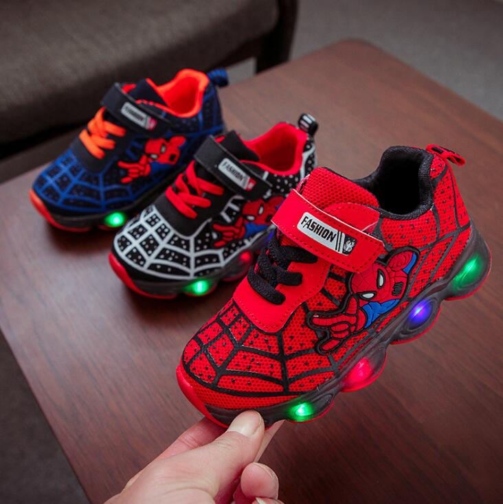 7cee1b867cf Kids Led Shoes Spider-Man led luminous Kids Boys Sneakers Children Glowing  Shoes tennis infant Baby Boys Shoe With Light