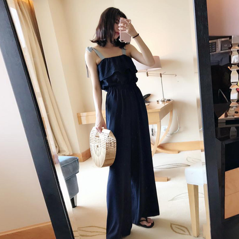 TWOTWINSTYLE Lace Up Jumpsuits Womens Off Shoulder Ruffles Tunic High Waist Maxi Wide Leg Pants Summer Fashion Holiday Clothing 12