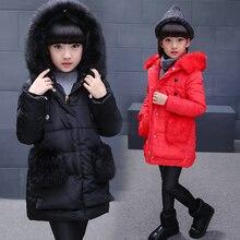 Девушки Куртки и Пальто Новые Поступления Мода Меха С Капюшоном Толстые Теплые Парка Вниз Детская Одежда Хлопок детская Верхняя Одежда Одежда B435