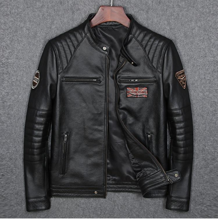 HTB11pYmaZnrK1RjSspkq6yuvXXaH Free shipping plus motor Brand style Vintage men's quality genuine leather Jackets slim 100% natural cowhide jacket.leather coat