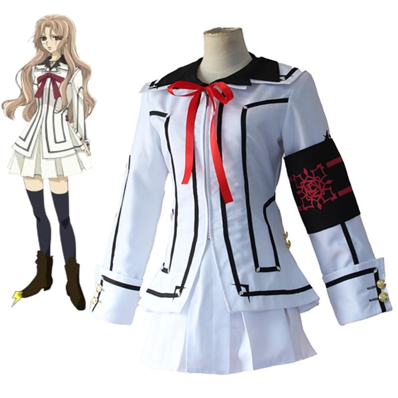 Anime Vampire Knight Cosplay Costume Yuki Cross White or Black Womens Halloween Cosplay Dress Uniform Set New S/M/L/XL