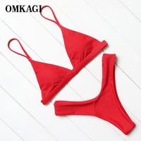 OMKAGI Brand Solid Red Brazilian Bikinis Push Up Padded Bikinis Women Low Waist Good Quality Bikini