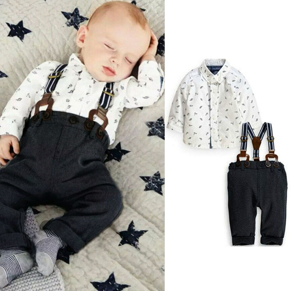 Fashion Lovely Print Baby Boy Clothes Sets Toddler Shirt Top+Bib Pants Overall Costume Kids Clothing Set for 3M-2Y