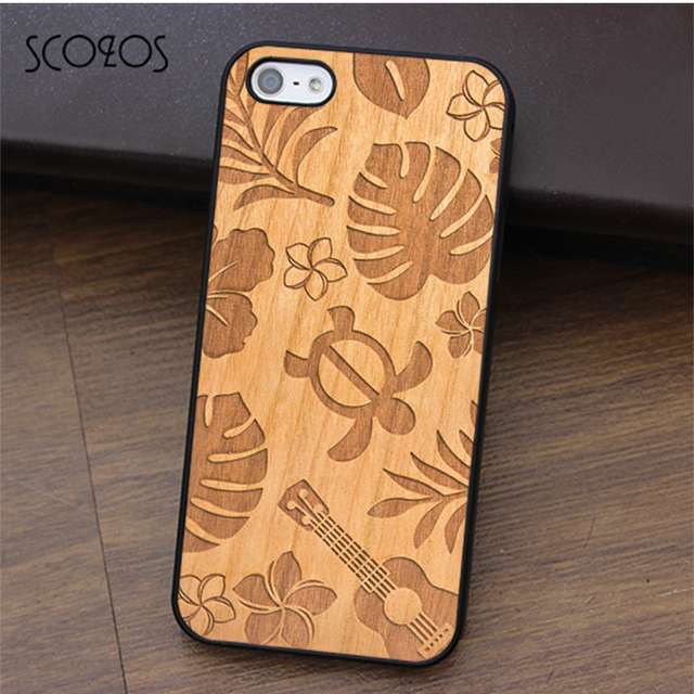 brand new aa5bd 7662e US $4.99 |SCOZOS TURTLE GUITAR HAWAII Wood Engraved Carved phone case for  iphone X 4 4s 5 5s Se 5C 6 6s 7 8 6&6s plus 7 plus 8 plus #ca448-in Fitted  ...