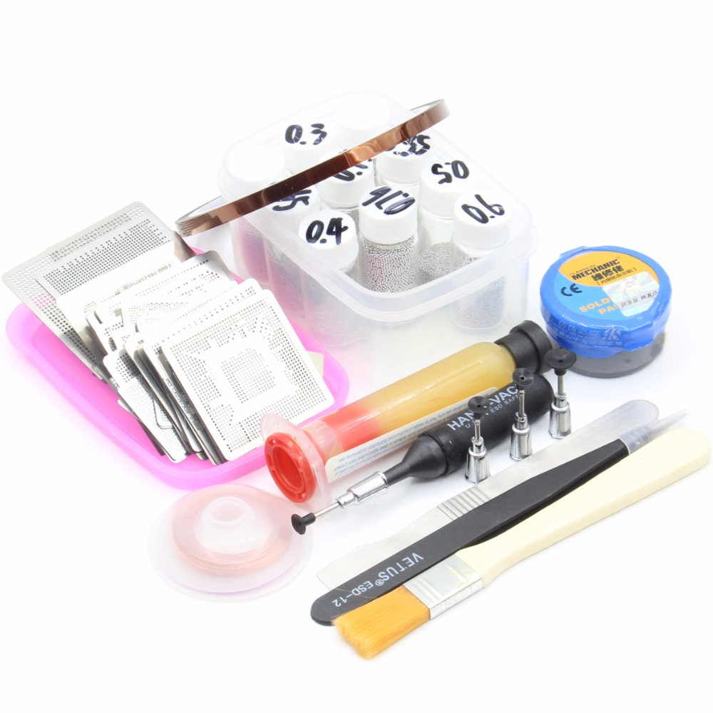 310pcs BGA Reballing Directly Heat Stencils Solder Paste Balls Station BGA Reballing kit For SMT Rework Repair+10pcs Solder ball bga reballing rework station with hand grip for 90x90mm stencils templates new
