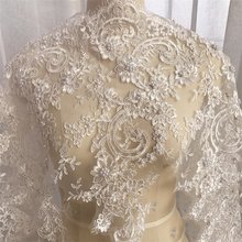 1Yard Lace Trimmings for Sewing Pearls Refined Luxury Fabric Wedding Dress Accessories Trim