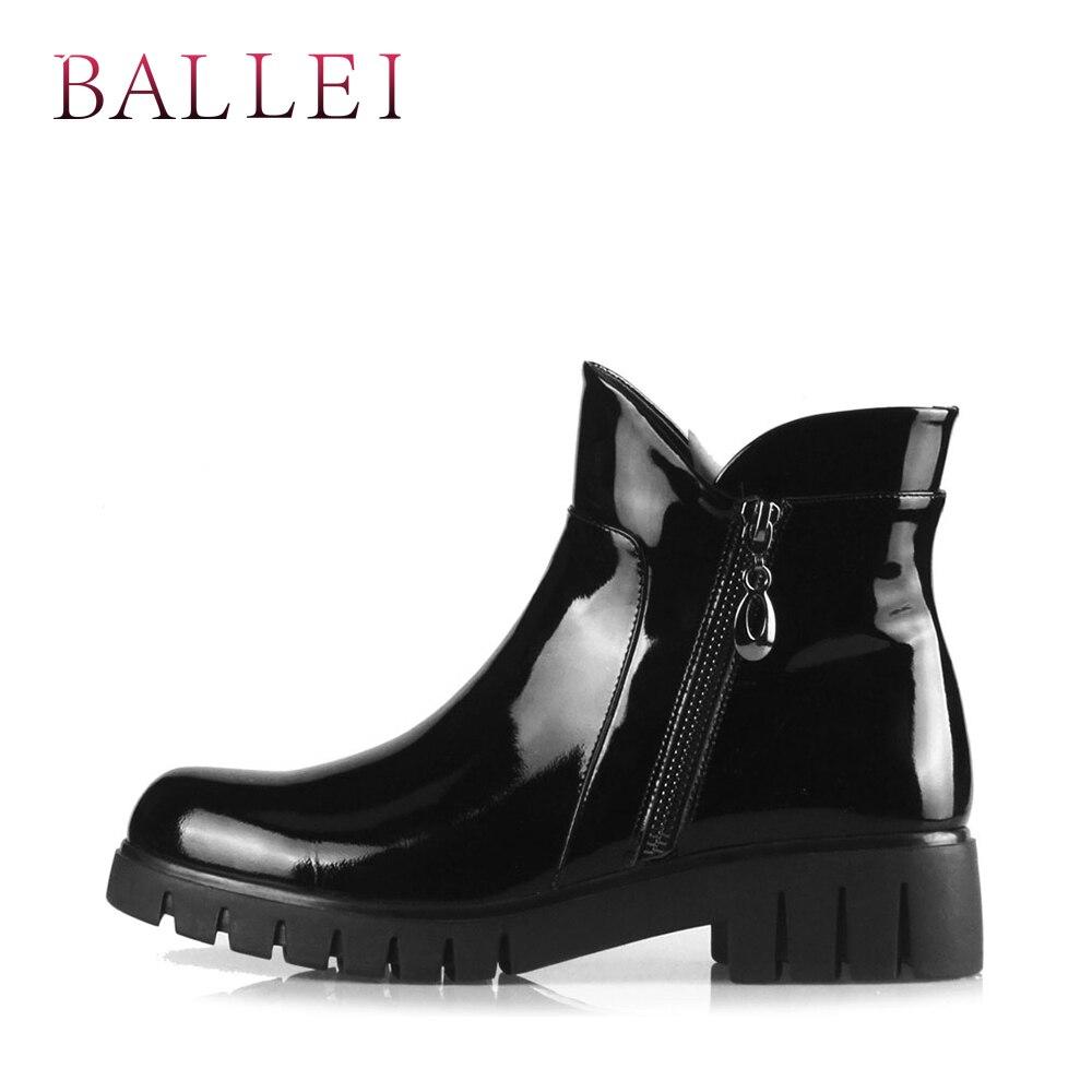 BALLEI luxe femme bottine Vintage noir véritable cuir classique bout rond chaussures doux talon carré décontracté dame bottes chaudes B3-in Bottines from Chaussures    2