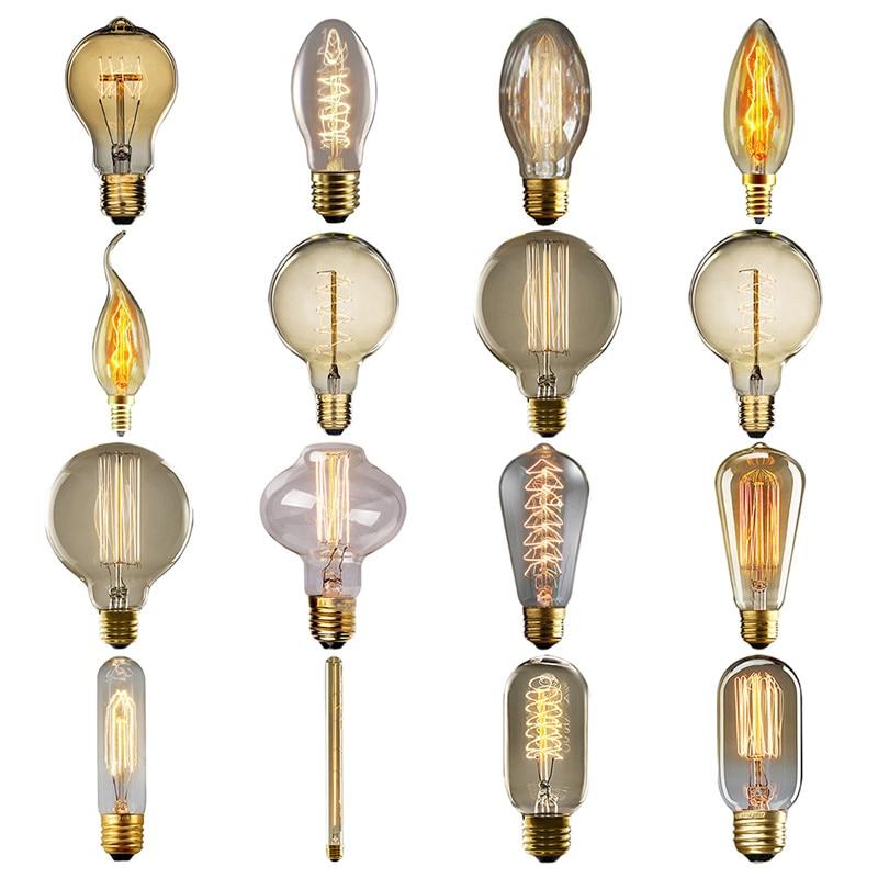 Vintage Bulbs E27 E14 Incandescent Bulb ST64 G80 Filament Bulb Squirrel-cage Carbon Bulb Retro Edison Light For Pendant Lamp