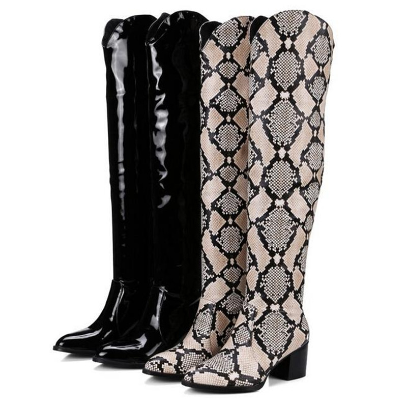 2018 Winter Women Snakeskin Thigh High Boots Patent Leather Chunky Heel Over the Knee Botas Chaussures Femme Plus Size 35-46 variability study of wheat genotypes