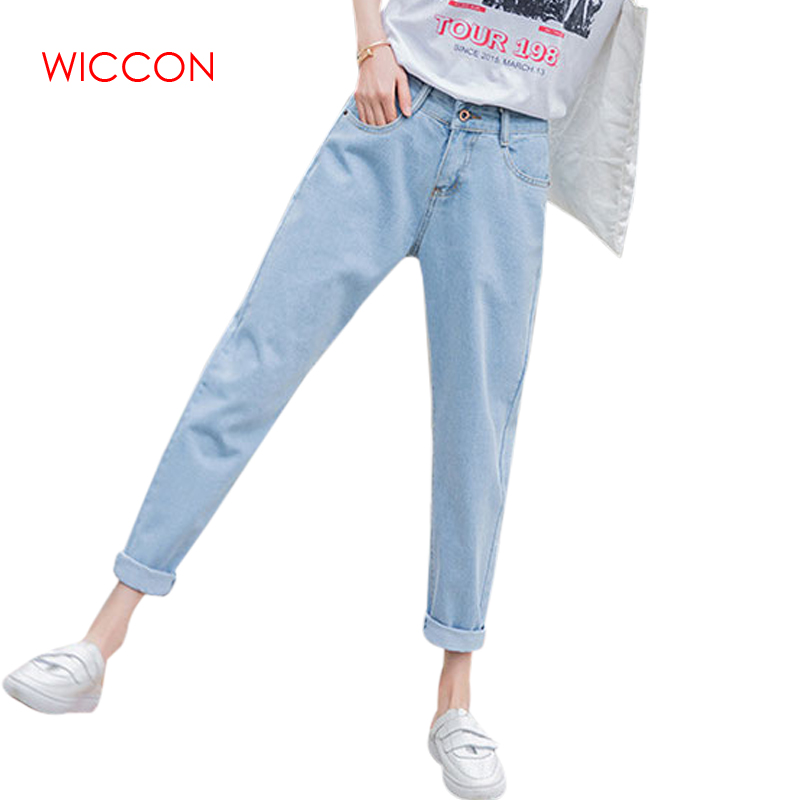 Basic Denim   Jeans   femme Classic Women High Waist   Jeans   Vintage Mom trousers women Cowboy Denim Pants boyfriend   jeans   for women