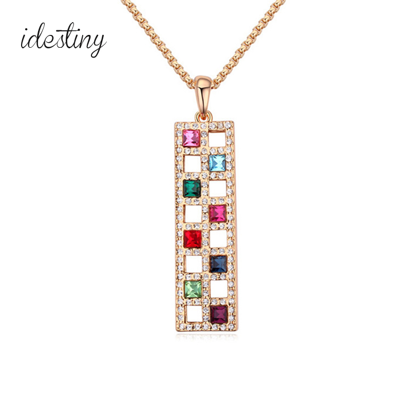 women necklace long chain sweater jewelry made with Austrian crystal fashion square strip shaped bijoux for Christmas gift