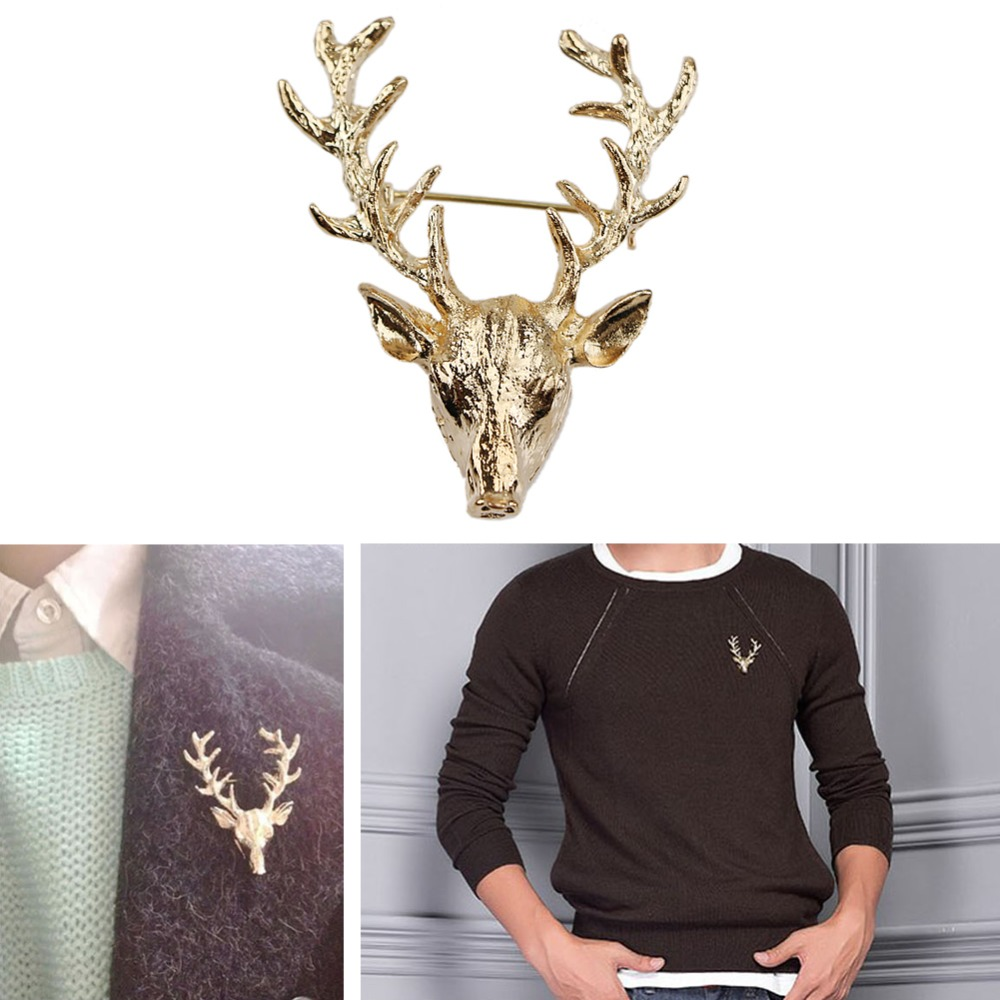 Cute Elk Milu Head Horn Red Deer Hunting Collar Neck Tips Brooch
