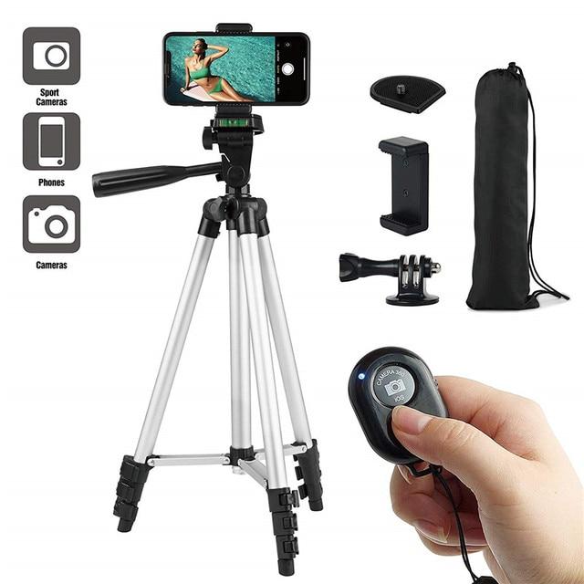 חצובה Stand 42 אינץ אלומיניום קל משקל הר עבור IPhone Gopro 7 6 ספורט מצלמה Smartphone אלחוטי Bluetooth שלט רחוק