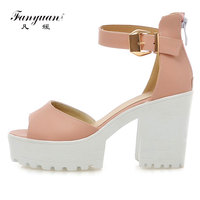 Fanyuan 2018 Candy Ankle Wrap Peep Toe Ladies Sandal Sexy Platform Super High Heels Women party/date Chunky Sandal Size 34 43