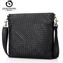 JASLOONG Brand Casual Genuine Leather Men Crossbody Bag with Knitting Handmake Personalized Name Black Soft Handle Messenger Bag