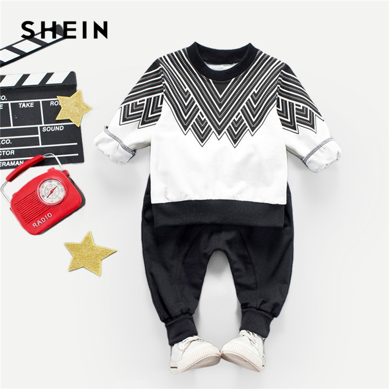 SHEIN Kiddie Toddler Boys Geometric Print Top With Pants Two Piece Set 2019 Spring Long Sleeve Casual Children Boys Clothes Set sexy women s off the shoulder long sleeve geometric dress