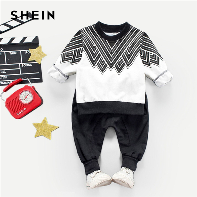 SHEIN Kiddie/топ с геометрическим принтом и штаны для маленьких мальчиков комплект из двух предметов, 2019 г., весенний Повседневный детский комплект одежды с длинными рукавами для мальчиков