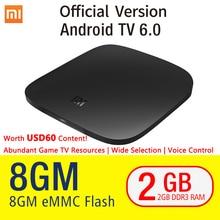 Оригинал Сяо Mi Ми TV Box 3 Android 6.0 2/8 г Smart 4 К Quad Core HDR фильм комплект-топ WI-FI Google Play Netflix Red Bull media player
