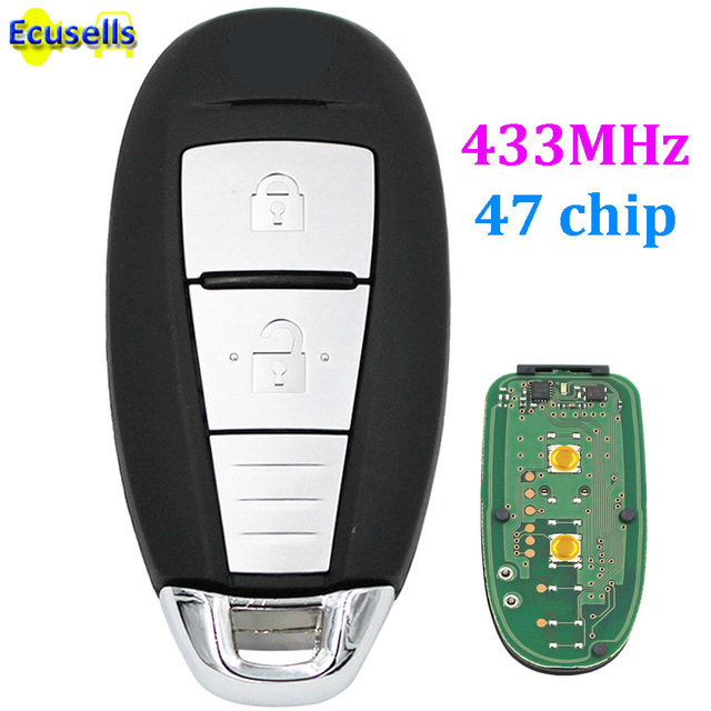 2 On Smart Keyless Remote Key Fob For Suzuki Sx4 5 Cross Vitara Swift 433mhz With Id47 Chip Uncut
