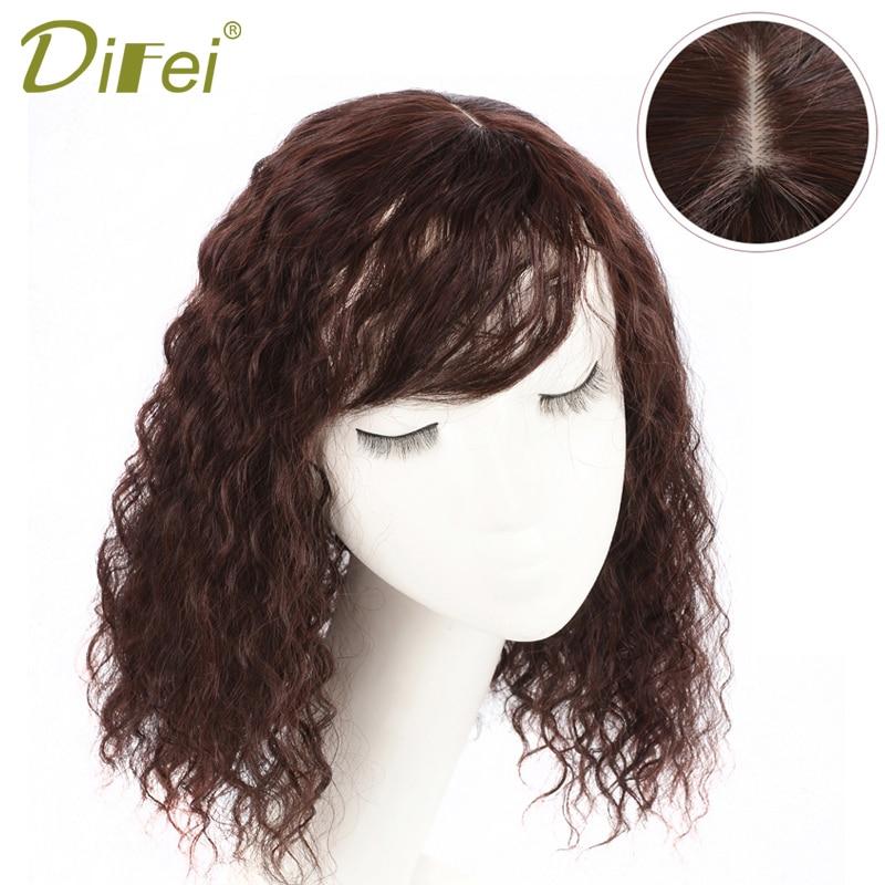 DIFEI Kadın Sentetik saç tokası Peruk Saç Parçaları Doğal Renk Içinde Mısır sıcak Saç Bang Fringe Üst Kapaklar Tokalar 25/35 CM